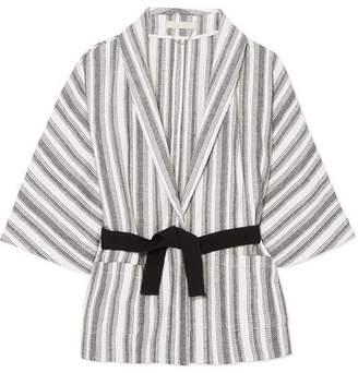 Vanessa Bruno Iles Belted Striped Cotton-canvas Jacket - White