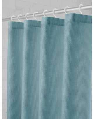 Maytex Smart Curtain Textured Waffle Fabric Shower Curtain with Attached Roller Glide Hooks
