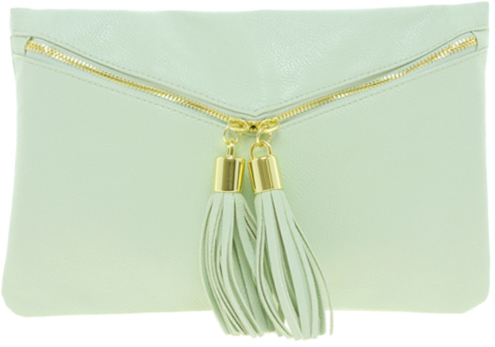 Asos Clutch Bag With Double Tassel Zip
