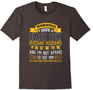 Warning Belt Russian Husband Funny T-Shirt