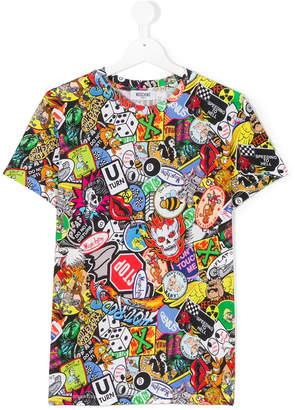 Moschino Kids badge print T-shirt