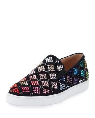 Christian Louboutin Arlettenbato Embellished Suede Sneaker, Black