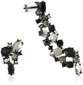 Marchesa Women's Hematite/Jet Mismatch Earrings