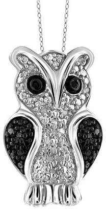 "Distributed by Target 120 CT. T.W. Round-Cut Black and White Diamond Pave Set Owl Pendant (18"")"