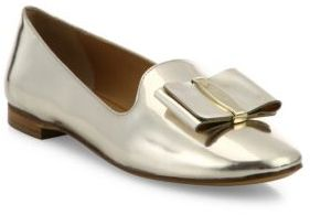 Salvatore Ferragamo Elisabella Metallic Leather Loafers $550 thestylecure.com