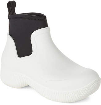 Celine White & Black Slip-On Ankle Boots