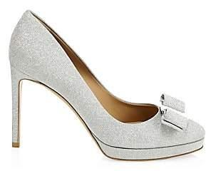 Salvatore Ferragamo Women's Osimo Bow Platform Glitter Leather Pumps