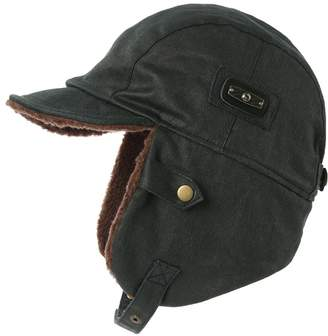 bdab566d4b1 Siggi Mens Pilot Hat Aviator Cap Leather Brown Adult Winter Trapper Hunting  Hats Large XL Navy