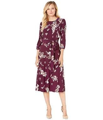 Lauren Ralph Lauren Printed Matte Jersey Felia with Sleeve 3/4 Sleeve Day Dress