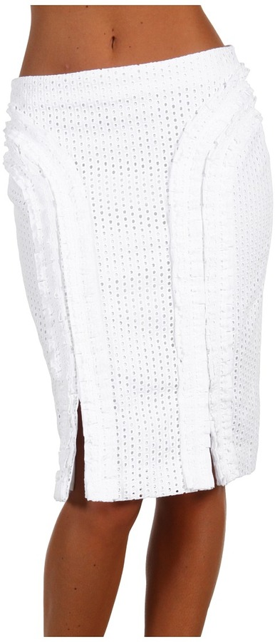 McQ by Alexander McQueen Pleated Pencil Skirt (Optic White) - Apparel