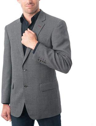 VERNO Men's Black and White Wool Blend Birdseye Textured BlazerVerno Pattern Suit Jacket