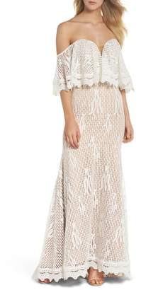 Jarlo Davilea Off the Shoulder Lace Gown