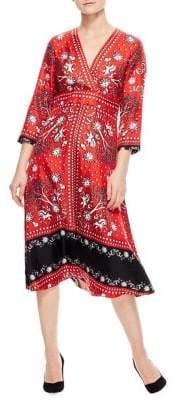 Sandro Ainhoa Printed Silk A-Line Dress