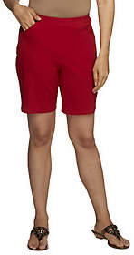 """Denim & Co. HowTimeless""""Stretch Pull-on Shortsw/Front Pockets"""