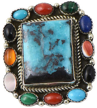 One Kings Lane Vintage Bisbee Turquoise & Gemstone Pendant/Pin - Owl's Roost Antiques