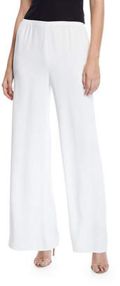 Caroline Rose Crepe Suzette Wide-Leg Pull-On Pants