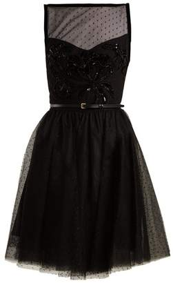Elie Saab Slash Neck Embellished Polka Dot Tulle Dress - Womens - Black