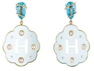 Helen Yarmak Flower Diamond, Sapphire and Topaz Earrings