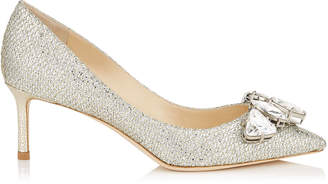 Jimmy Choo MARVEL 60 Champagne Glitter Fabric Pointy Toe Pumps with Crystal Piece