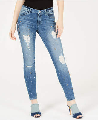 GUESS Sexy Curve Ribbed Embellished Skinny Jeans