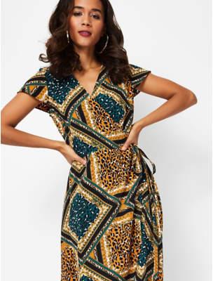 George Leopard Print Waterfall Hem Wrap Midi Dress