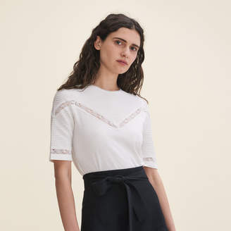 Maje T-shirt with lace trims