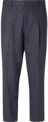 Mr P. Navy Pleated Prince Of Wales Checked Wool And Cotton-Blend Trousers