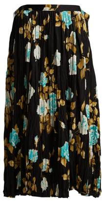 Junya Watanabe Floral Print Pleated Midi Skirt - Womens - Brown Multi