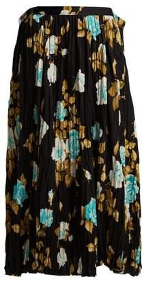 Junya Watanabe - Floral Print Pleated Midi Skirt - Womens - Brown Multi