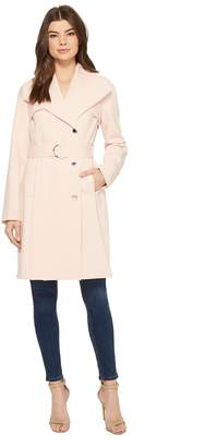 Calvin Klein Double Weave Belted Wing Collar Wrap Women's Coat