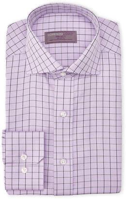 Lorenzo Uomo Pink & Navy Windowpane Regular Fit Dress Shirt