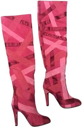 Chanel Pink Suede Boots
