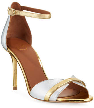 Malone Souliers Metallic Leather Ankle-Strap Sandals