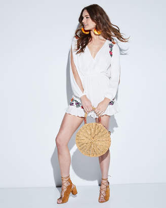 Lovers And Friends Adriana Floral-Embroidered Split-Sleeve Romper