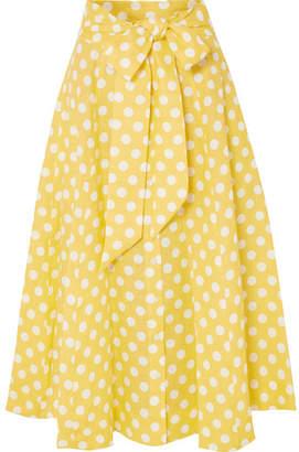 Lisa Marie Fernandez Polka-dot Linen Midi Skirt