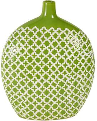Element 13 Inch Round Green Patterned Ceramic Vase