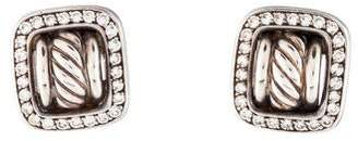 David Yurman Diamond Square Buckle Earclip Earrings