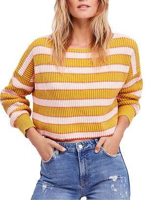 Free People Just My Stripe Cropped Sweater