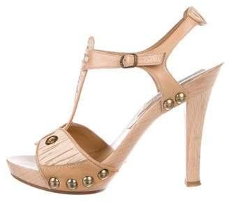 Manolo Blahnik Embellished Peep-Toe Sandals