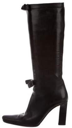 Prada Leather Knee-High Boots Black Leather Knee-High Boots