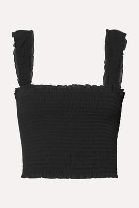Reformation Sally Ruffled Shirred Crepe Top - Black