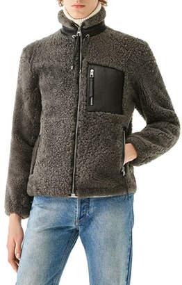 Loewe Men's Shearling Fleece Zip-Front Jacket