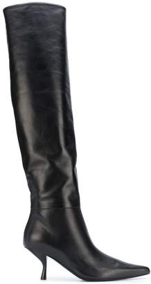 The Row thigh length pointed boots