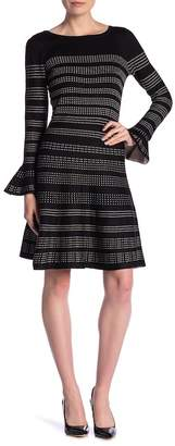 Taylor Bell Sleeve Print A-Line Sweater Dress