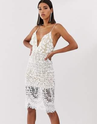 Love Triangle plunge front 3D applique cami midi dress in white