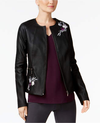 Alfani Embroidered Faux-Leather Jacket, Created for Macy's $119.50 thestylecure.com