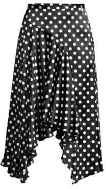 Caroline Constas Polka Dot Handkerchief Flounce A-Line Skirt