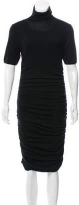 Giambattista Valli Ruched Wool Dress Black Ruched Wool Dress