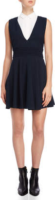 The Kooples Navy Collared Fit & Flare Dress