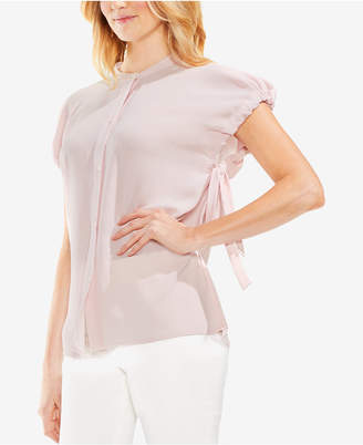 Vince Camuto High-Neck Drawstring-Arm Blouse